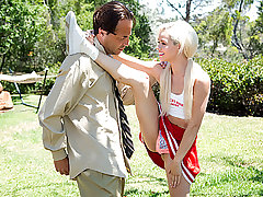 Magnificent blond cheerleader gal Elsa Desire gets her slit boned by her neighbor instructos jizz-shotgun after practising on some cheering moves.